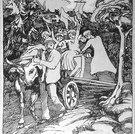 Herbst, (Alpabfahrt mit Ochsengespann), um 1905