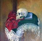 Totenschädel und Buch (Memento mori)