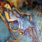 Frau auf Stuhl