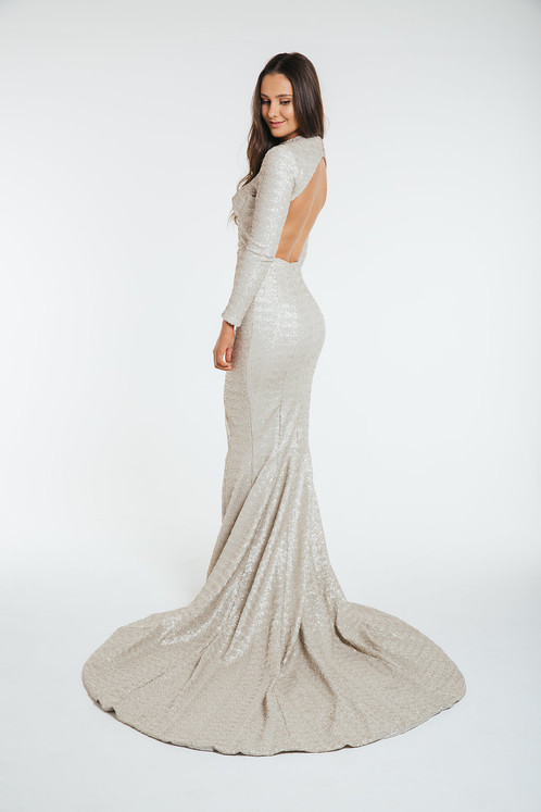 CHAMPAGNE SEQUIN GOWN - Size AUS 8