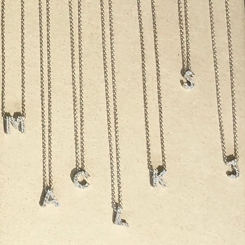 Mini Pave Initial Necklace
