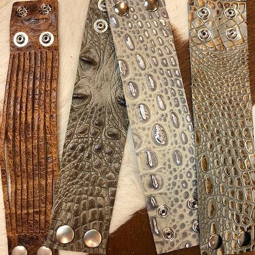 Genuine Leather gator print Bracelet
