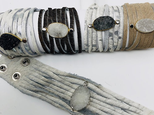 Cowhide Druzy Bracelet