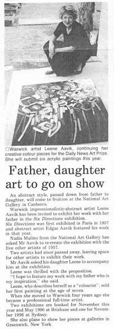 Newspaper clipping - father , daughter art to go on show - Leene Aavik