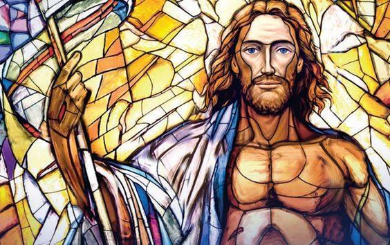 Resurrected Jesus stained glass window