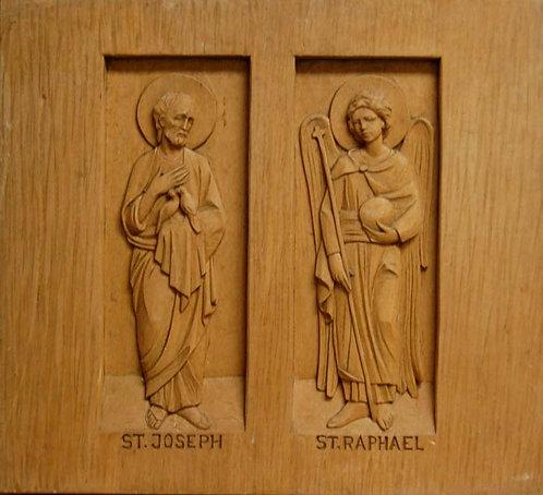 Wood Carving Set - St. Joseph and Raphael