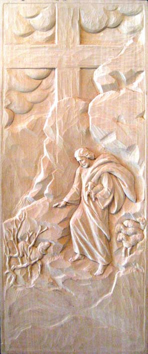 Wood Carving - Christ as Good Shepard