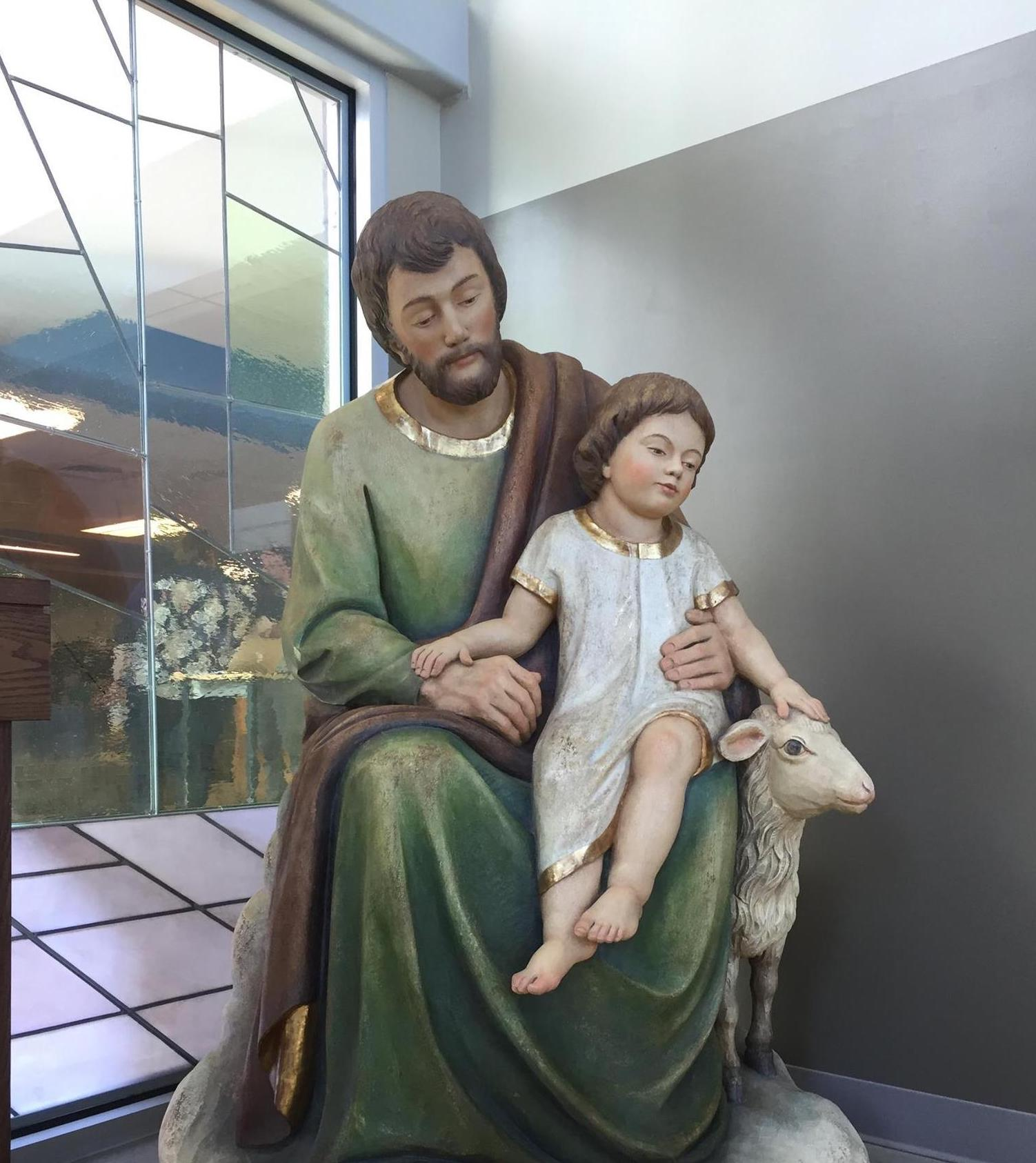 St. Joseph with child Jesus and Lamb of God hand-carved sculpture