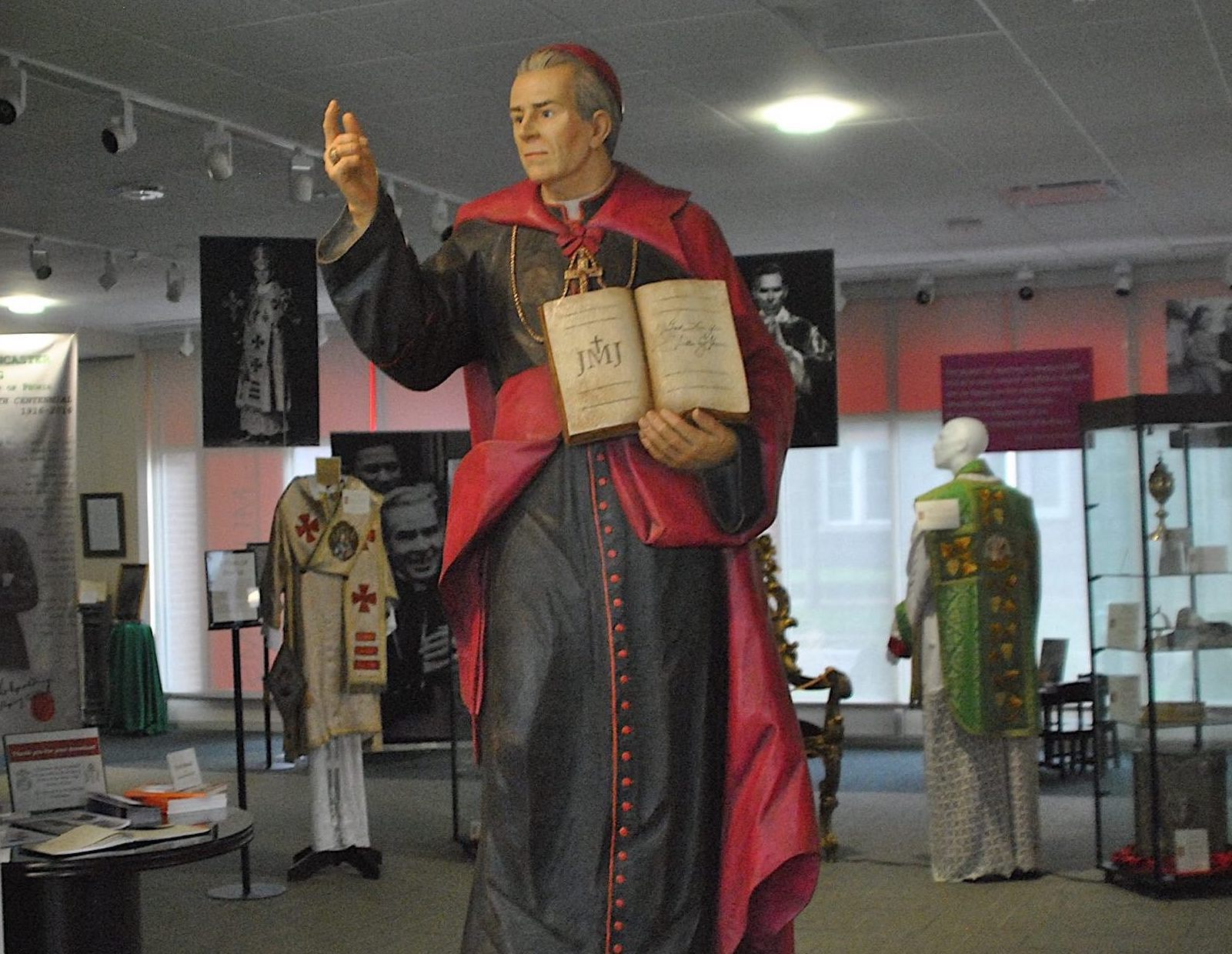 Venerable Archbishop Fulton J. Sheen hand-carved wood statue