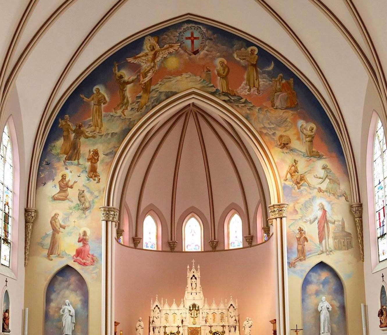 Life of St. Francis of Assisi sanctuary apse mural