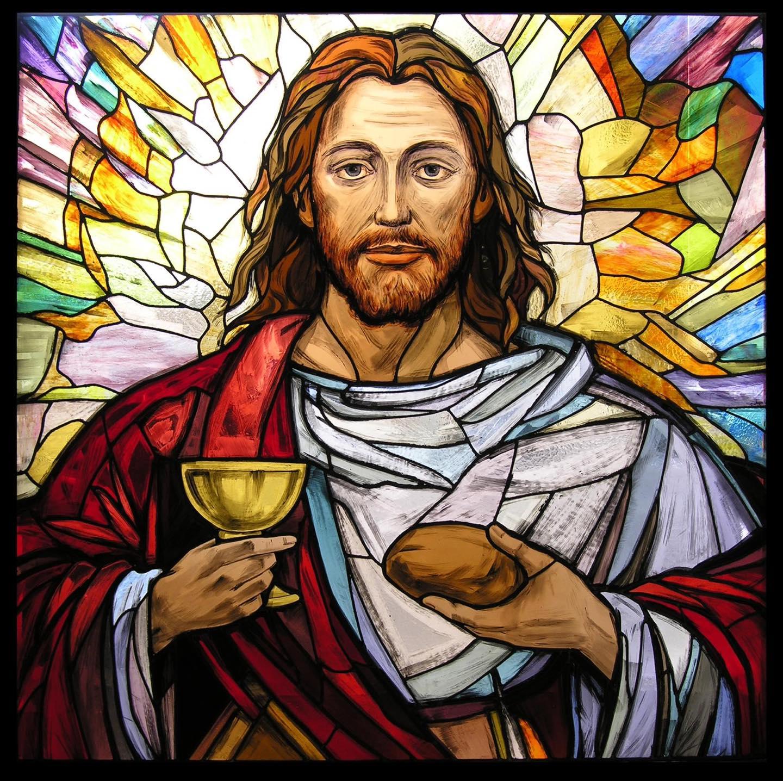 Eucharist stained glass window