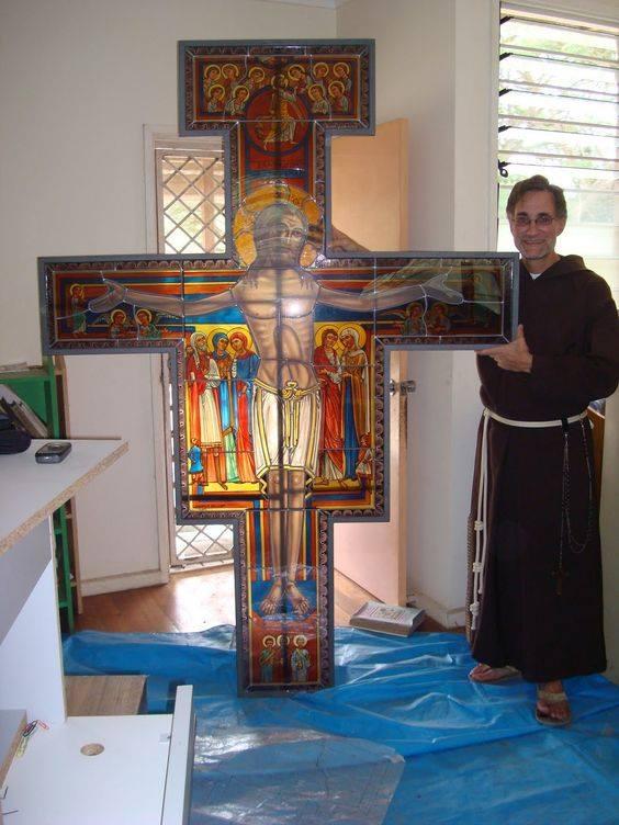 San Damiano crucifix stained glass window
