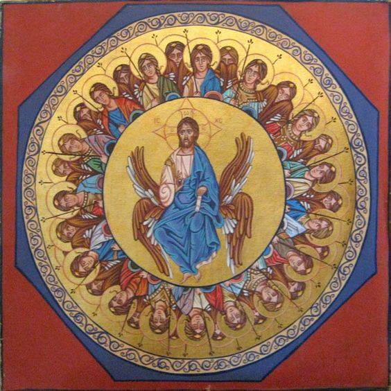 Christ the Pantocrator with adoring angels in gold leaf and oil paint