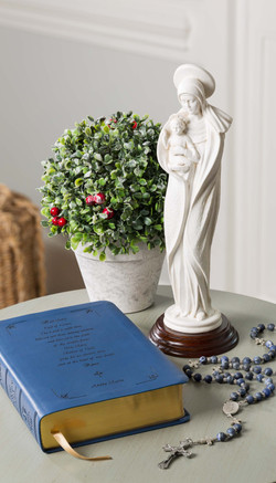 Mary Statue with Bible and Rosary