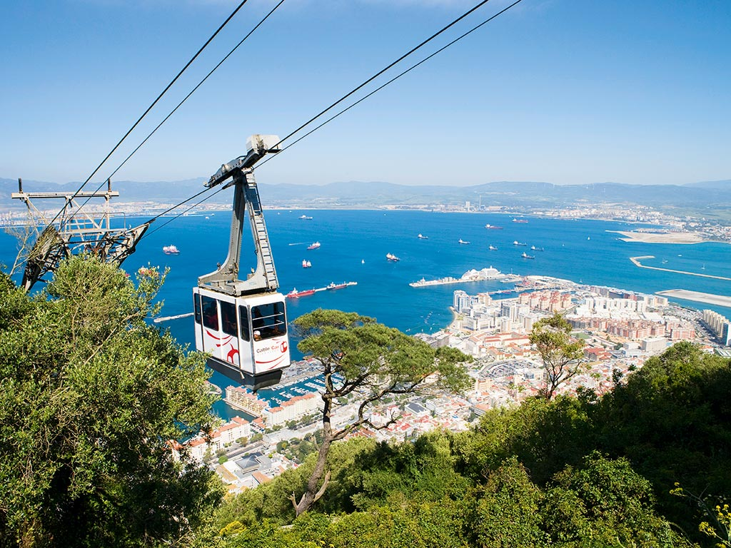 A-cable-car-gondola-over-Gibraltar-Town-