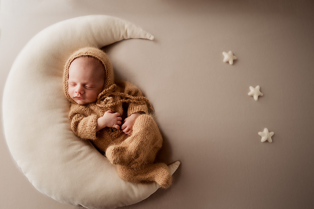 Neutral Baby Boy newborn moon photo