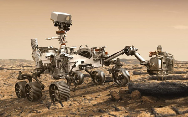 NASA's Perserverance Rover with extended Drilling arm lines up a Martian rock to take a sample.