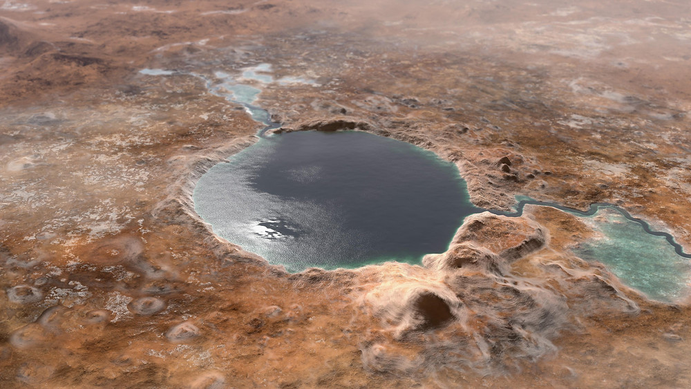 Jezero Crater, Mars as it might have looked full of water.