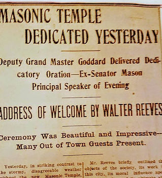 Headline from 1906 when our venue first opend as a Masonic Temple.