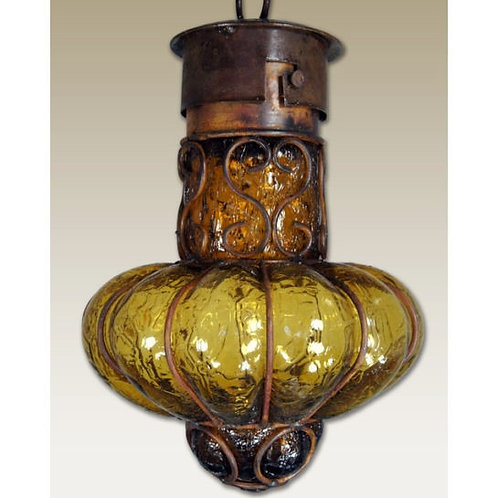 Large Textured Pendant with Iron Decor