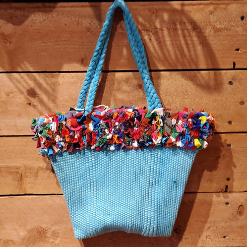 Small Woven Bag with Fringe Accent