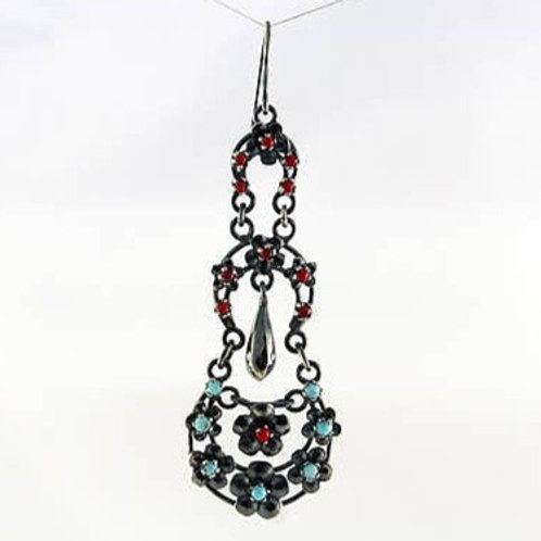Sterling, Coral, & Turquoise Long 3 Layer Earrings
