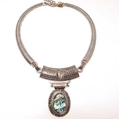 Silver and Abalone Shell Necklace