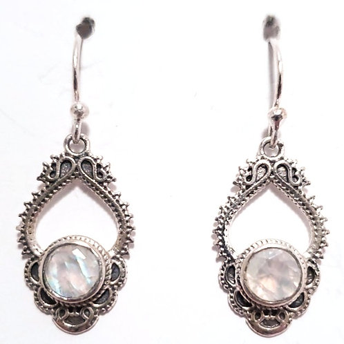 Sterling Silver and Rainbow Moonstone Earrings