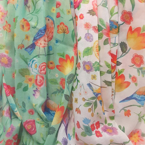 Scarf with birds and flowers