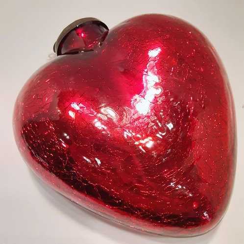 Large Crackle Glass Heart
