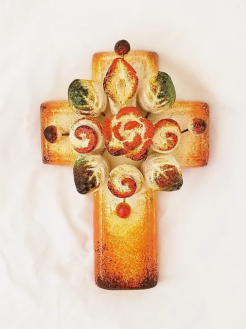 Cross with bouquet