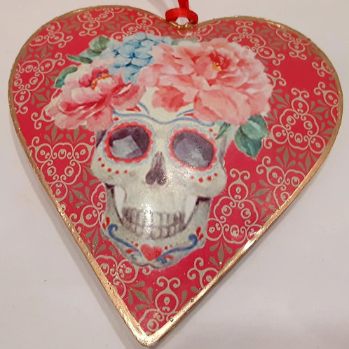 Flowers with  Skeleton  Heart Ornament