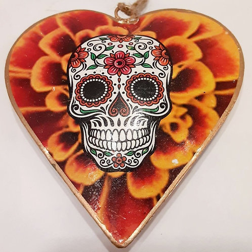 Marigold Sugar Skull Heart Ornament