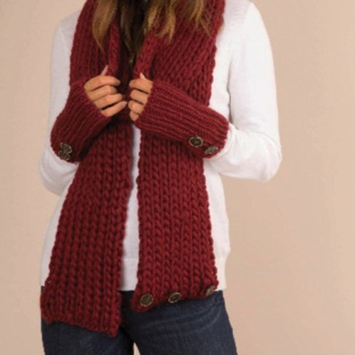 Large knit scarf with button accents