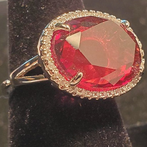 Silver ring with Red stone and CZ