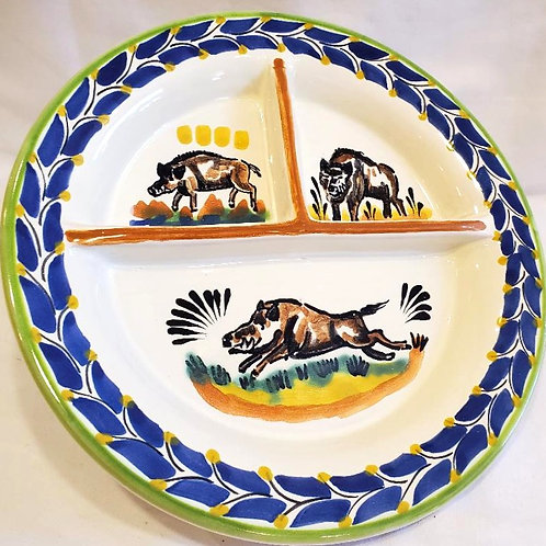 Plate, divided