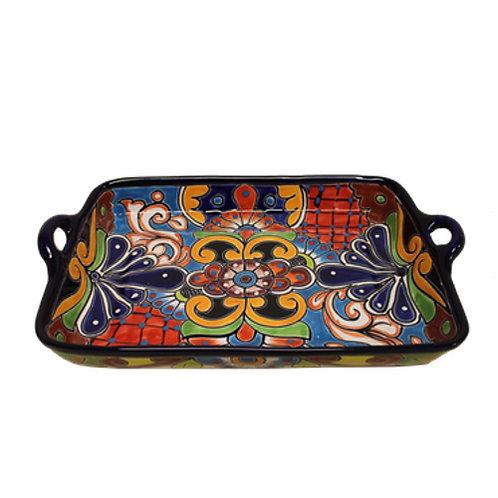 Rectangular serving platter with handles