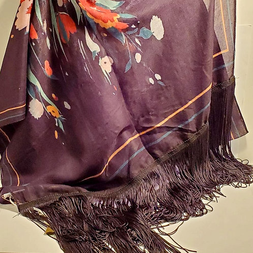 Abstract flowered scarf with long fringe