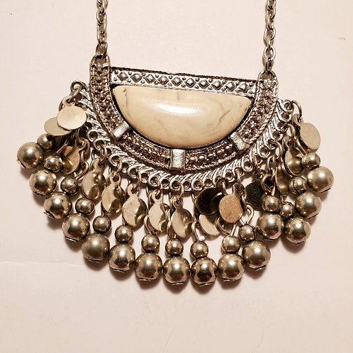 Silver and Marble Long Necklace