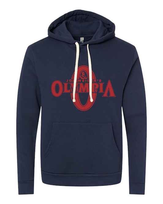 Olympia Navy Fleece Pullover Hoodie- Red Logo