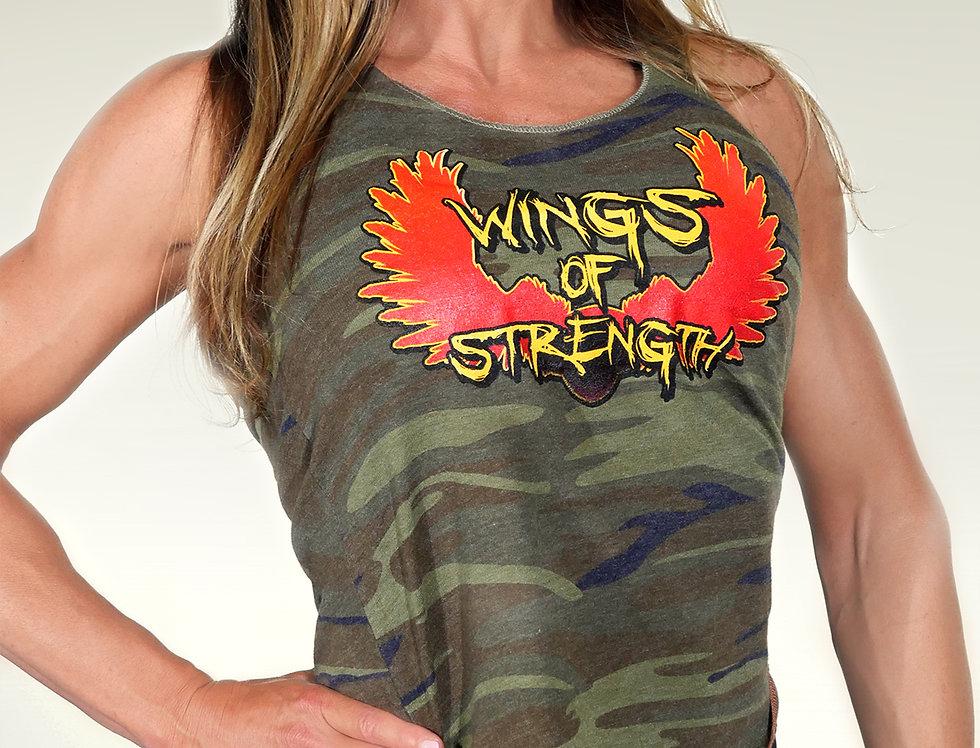 Wings of Strength Women's Jersey Racerback Tank Top - Camo