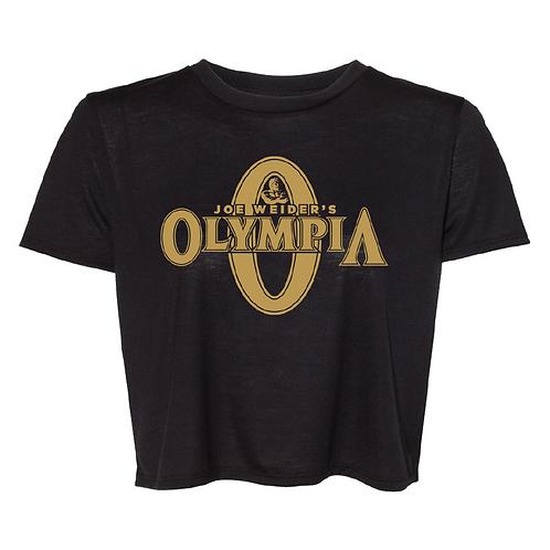 Olympia Crop Top Black Tee-Gold