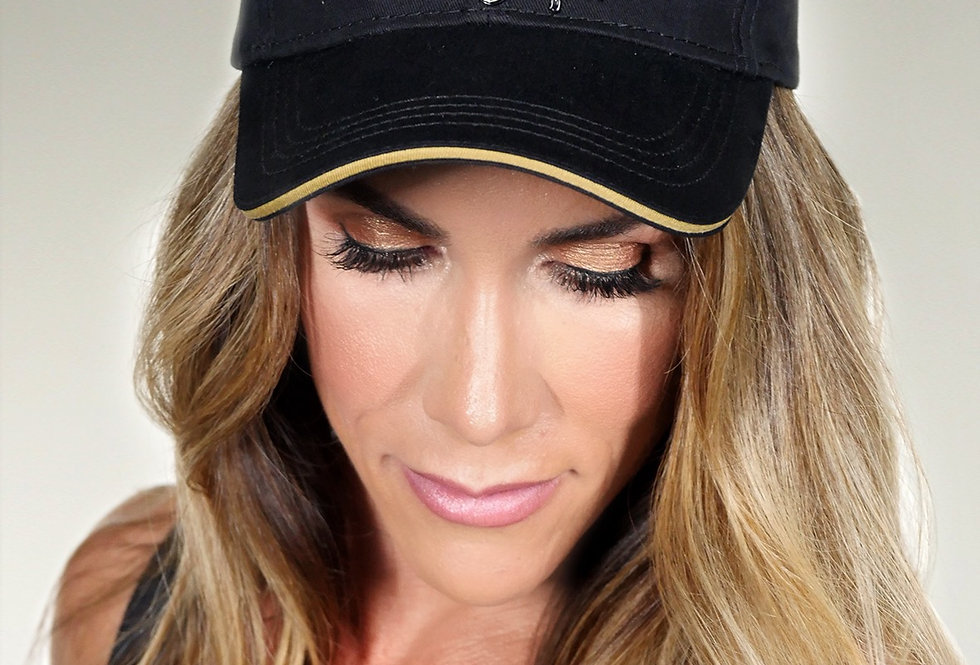 Wings of Strength Liquid Gold Hat - WOS logo Black & Gold