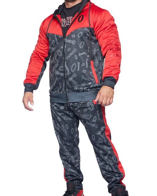 Olympia Red and Black Pattern Tracksuit