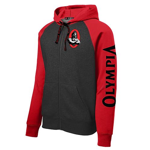 Olympia Red / Dark Grey Full-Zip Hooded Fleece Jacket