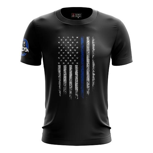Thin Blue Line American Flag Dry Performance T-Shirt