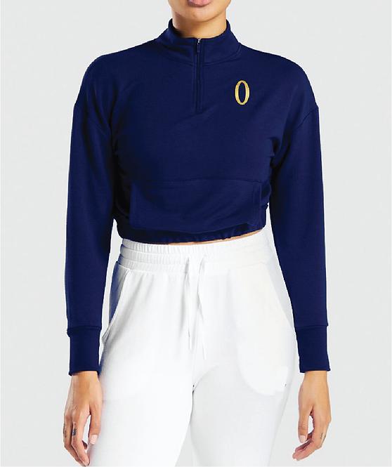 Olympia Navy 1/4 Zip Crop with Pockets Jacket