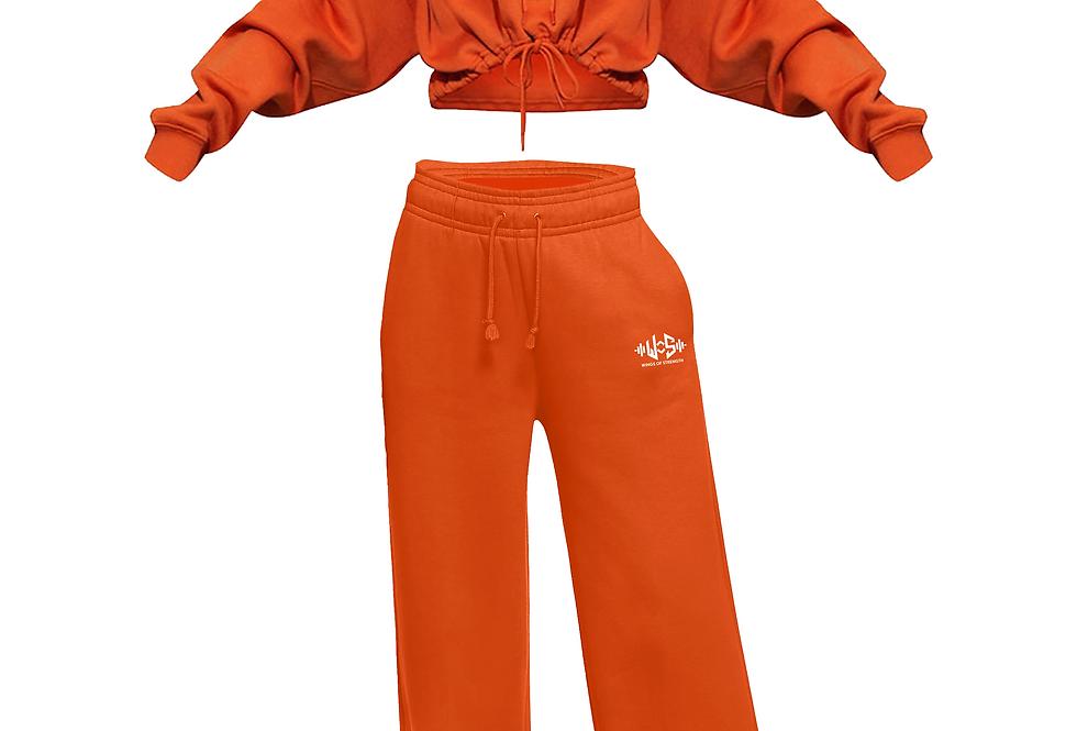 Wings of Strength Crop Hoodie & Fleece Pants Orange Set