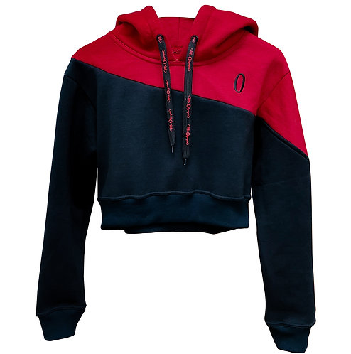 Ms Olympia Red & Black Crop Hoodie