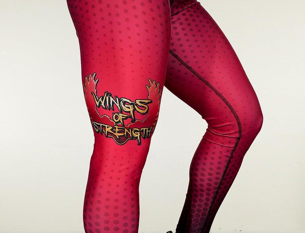Wings of Strength Women's Maroon Polka Dots Leggings